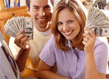 happy people with money